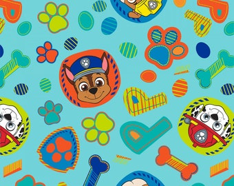 Blue Paw Patrol Playful Pups Fleece Fabric Nick Jr - nickelodeon anti-pill polyester kids boys by the yard metre PW41346ACW2 rocky rubble