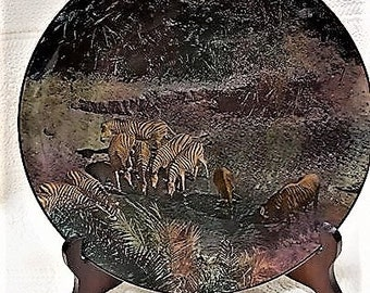 """Vintage Royal Doulton England African Series Display Plate, D. 6361 """"Game At The Drinking Pool"""" African Game Reserve, Beautiful Plate!"""
