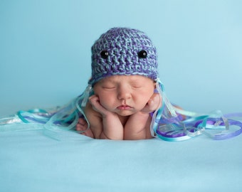 Handmade Crochet Jellyfish Beanie, infant beanie, baby crochet hat, newborn crochet beanie