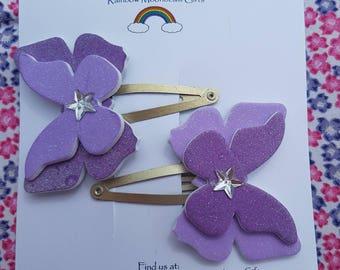 Purple Glitter Butterfly Hair Clasps