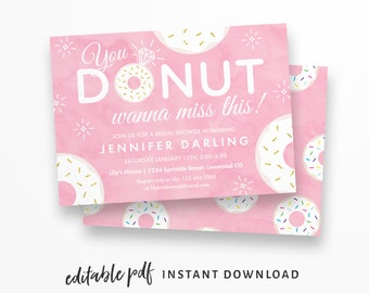 Donut Bridal Shower Invitation, Editable PDF Instant Download. Pink, donut-themed shower invitations featuring donuts with gold sprinkles!