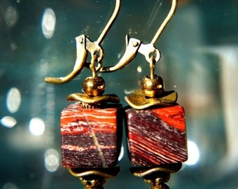 Red Jasper Natural Gemstone Earrings, Agate Gemstone Earrings, Gemstone Handmade Beaded Jewelry, Handmade Beaded Earrings, Gift For Woman