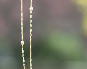 14 Karat Yellow Gold Ball and Chain Vintage Anklet