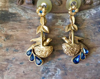 Vintage Gold Tone and Blue Stone Bird In Nest, Flower Earrings