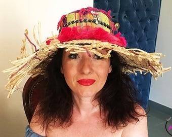 Straw hat, straw hat woman, straw hat with appliances, handmade straw hat, pink straw hat
