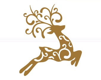 Christmas Reindeer SVG cut file - svg, studio3, dxf, eps - Christmas Santa Swirly Flourish Reindeer Cutting Files for Cricut, Silhouette