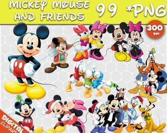 Mickey Mouse MINNIE MOUSE Clipart  99 PNG 300dpi Images Digital Clip Art Instant Download Graphics transparent background Scrapbook birthday