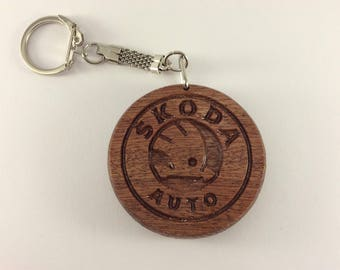 SKODA Car Logo Wooden Keyring Keychain Fob * Can be PERSONALISED