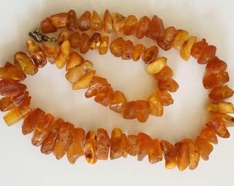Genuine unpolished vintage Baltic amber necklace