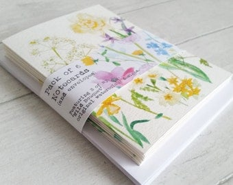Wild Bouquet... Gift set of 6 Notecards and envelopes, taken from 3 of my original watercolour designs - blank inside