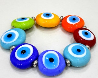 Colorful Evil Eye Lampwork Beads. Chakra Lampwork Beads, Protection Evil eye Beads (2pieces)