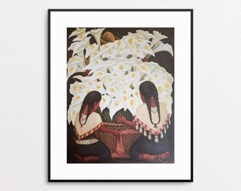 Diego Rivera - Women Selling Calla-lillles, 1943 - Vintage Book Page - Mexican Art - Diego Rivera Print - Calla Lily - Flower Seller - Art