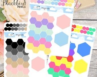 Hexagon Dots Planner Stickers [BR0005]