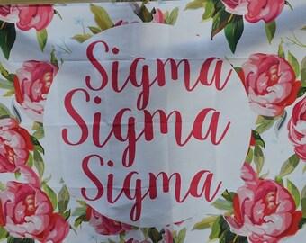 Sigma Sigma Sigma Sorority Floral Flag