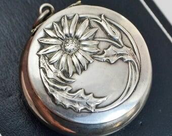 Victorian 800 SILVER Art Nouveau FLOWER Daisy Pill Pot / Pendant / Locket