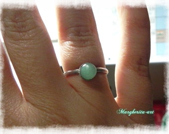 Handmade adjustable aventurine green ring, aventurine ring, green ring, gift for her, handmade ring size  USA 7-7,5