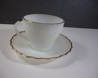 Fire King White Swirl Cup & Saucer Set Vintage Anchor Hocking Dishes