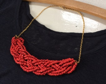 Coral Beaded Bib Necklace