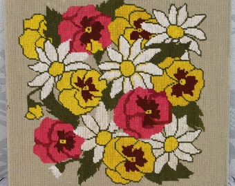 Pansies & Daisies Vtg Needlepoint Completed Floral Bright Pinks and Yellows