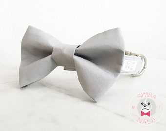 Light Grey Bow Tie Collar for Dogs/Bow Tie Dog Collar/ Wedding Gift/ Christmas Present/ Festive/ Birthday