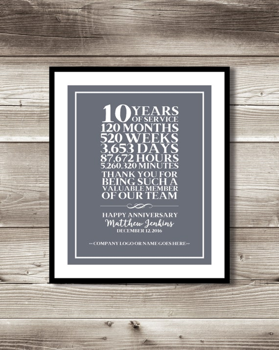10 Year Work Anniversary Print Gift Digital Print