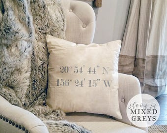 GPS Coordinates Decor - Coordinates Pillows - Farmhouse Pillow - Fixer Upper Decor - Farmhouse Chic Style - Coordinates Decor - Latitude
