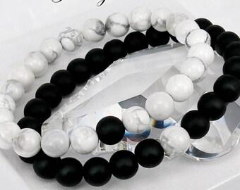 Couple Bracelet ,  Bracelet Set, Yin Yang Bracelet, Howlite Bracelet, Onyx Bracelet, Friendship Bracelet, Gift for Him Her, Couple Gift