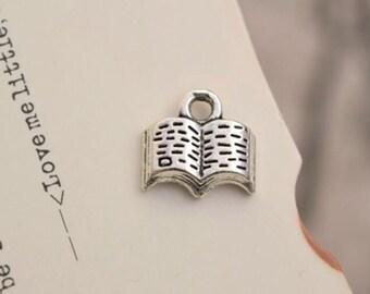 20 antique silver book charms study charm pendant pendants  (L04)