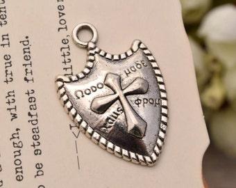 20 antique silver shield charms  charm pendant pendants YQ2