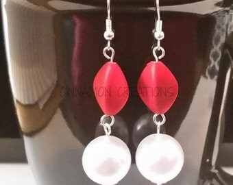 Pearly Red Earrings