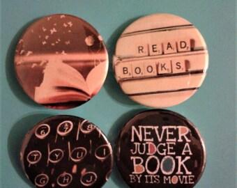 Set of 4 25mm book lover badges