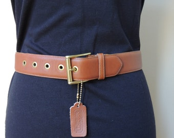 Vintage Coach Belt, ladies leather belt, retro belt, 90's belt, brown belt, brass buckle