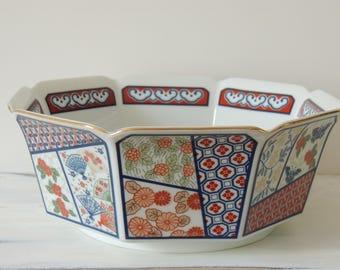 Vintage Japanese Mikado Bowl, Taste Setter by Sigma, hand decorated bowl, asian decor, decorative bowl, large serving bowl