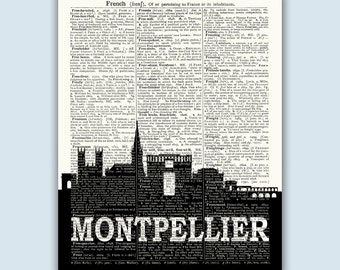 Montpellier Home Decor, Montpellier France, Montpellier Poster, Montpellier Print, Montpellier Skyline, Montpellier Wall Art
