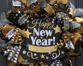 New Year Wreath-New Year's Eve Wreath- Celebtation Wreath-New Year's Eve Mesh Wreath-New Year's Mesh Wreath
