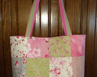 Custom Quilted Tote Bag Purse Patchwork Cherry Blossom Sakura Fabric Magnetic Snap & Pockets