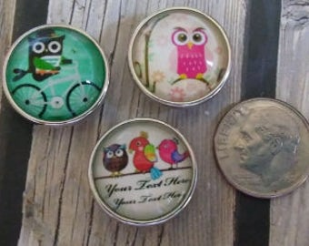 Interchangeable Snap Button Jewelry, Owl's Set of 3, #e-126