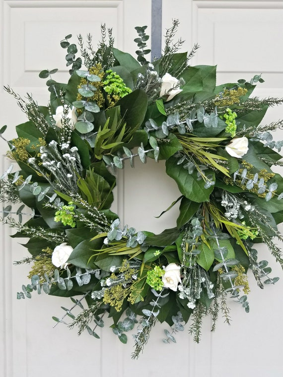 "Preserved lemon leaf wreath, 20"" wreath, leaf wreath, cream roses wreath, natural wreath decorative wreath, lemon leaf wreath"