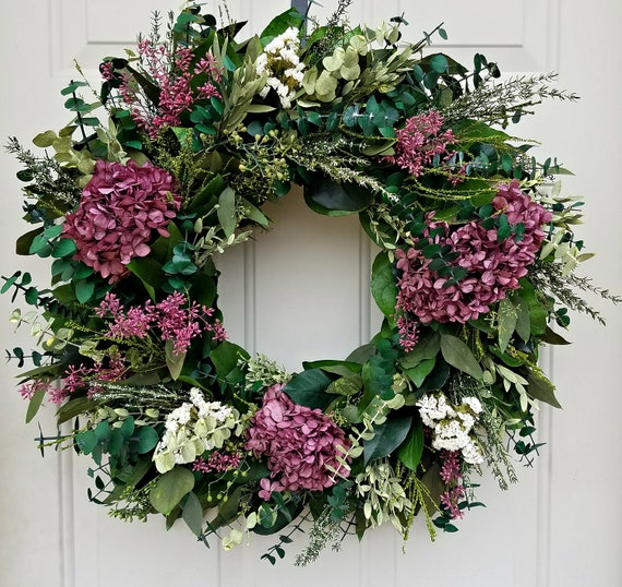 "Preserved hydrangea wreath, 24"" wreath, dried wreath, large wreath, purple wreath, indoor wreath, decorative  wreath"