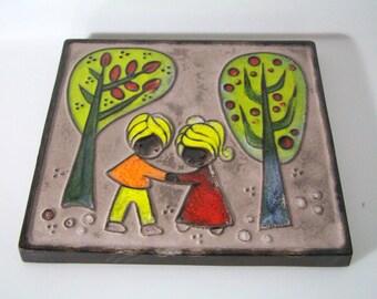 Pretty wall tile, unidentified origin/maker, autumn scene, children,