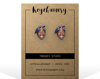 2Pac Stud Earrings - Tupac Inspired Stud Earrings - Hip Hop Rap - Music Studs