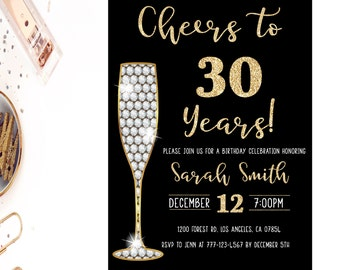 30th birthday invitation, gold glitter glam invitation, surprise 30th birthday invitation, champagne, birthday party invitation, any age