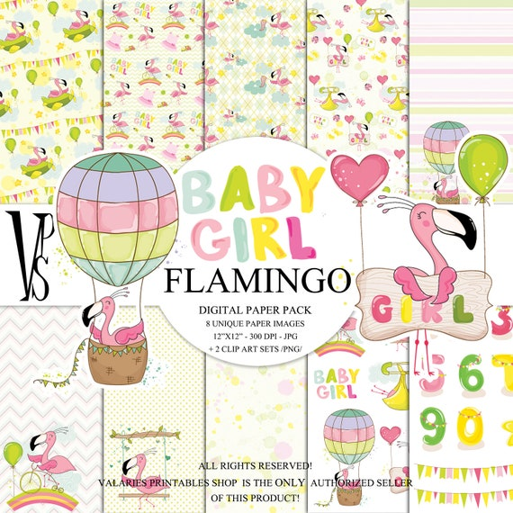 Cute Pink Flamingo Digital Paper Pack  Instant Download Printable Hot Air Balloon Baby Girl Nursery Baby Shower Hot Pink Green ClipArt 12x12