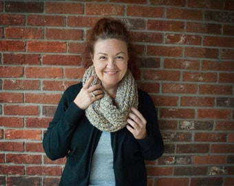 Soft Knit Cowl Neutral Beige Color