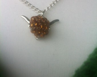 Highland Cow brown bead necklace