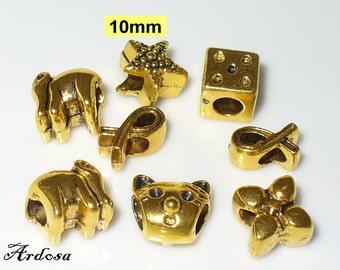 8 European beads mix gold (610.6)
