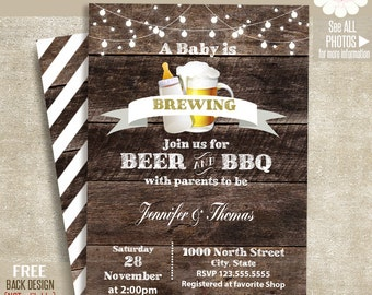 Baby is brewing invitation, Baby shower invite, Beer & BBQ shower, Printable Rustic wood invitation, Self Editable PDF File A259