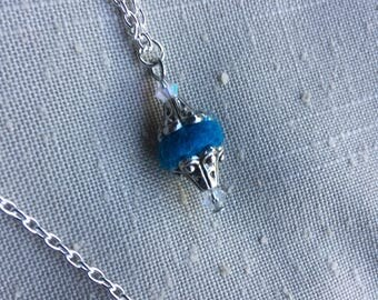 Dainty Turquoise Alpaca Fiber Bead Necklace