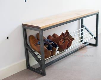 Shoe storage bench | metal bench | entryway bench | storage bench | industrial furniture | oak wood furniture | wooden bench | furniture