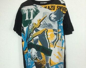 RARE!!! Vintage 90's J-LEAGUE kazu L size japan football player Full print Kazu swirls
